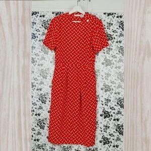 Vintage Talbots red and white polka dot dress